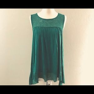 Cupio Sleeveless Top with Novelty Yoke Igana Green